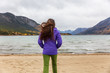 Yukon travel tourist woman walking on beach in Carcross, YUKON, Canada.
