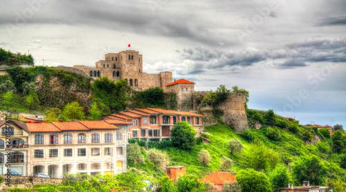 Leinwanddruck Bild Landscape with ruins of Kruje castle, Albania