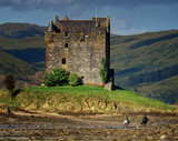 Castle stalker with riders in a close-up - 228649427