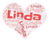 Linda word cloud in heart shape