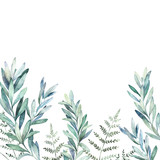 Watercolor floral card with eucalyptus branch and fern. Hand drawn botanical illustration. Wedding background - 228652274