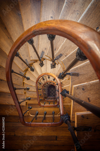 Old oak staircase and oak floor
