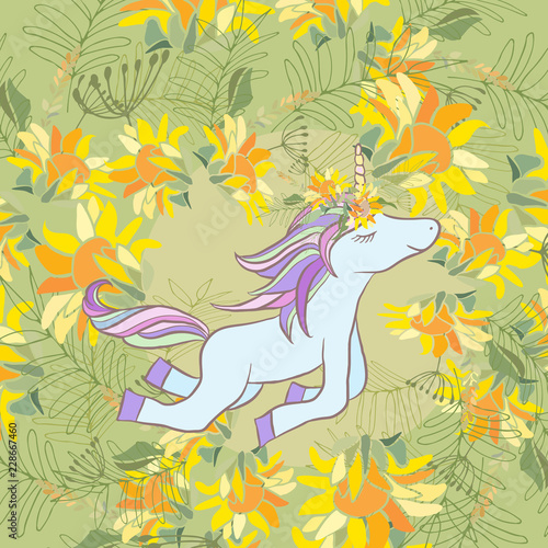 Retro style Illustration with flowers and animal - 228667460