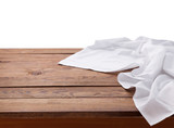 Kitchen towel on empty wooden table. Napkin close up top view mock up for design. Kitchen rustic background. - 228668610