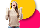 Happy woman on colorful background. Portrait close up. - 228668846