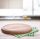 Kitchen towel on wooden table. Napkin close up top view mock up for design. Kitchen rustic background. - 228669449