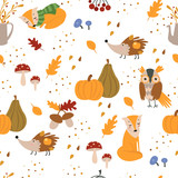 Autumn seamless pattern with cute forest animals