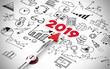 Leinwanddruck Bild - Silvester 2019 Konzept mit Icons