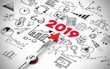 Silvester 2019 Konzept mit Icons