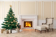 Leinwanddruck Bild - Classic beige interior with christmas tree, fireplace, lounge armchair, wall panels, wood floor. 3d render illustration mock up.