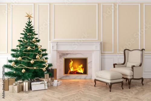 Leinwanddruck Bild Classic beige interior with christmas tree, fireplace, lounge armchair, wall panels, wood floor. 3d render illustration mock up.