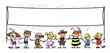 Leinwandbild Motiv Gruppe Kinder mit leerem Banner zu Karneval