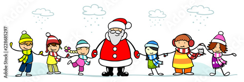 Leinwandbild Motiv Weihnachtsmann und Kinder zu Weihnachten