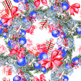 Hand painted merry christmas seamless pattern with watercolor Christmas tree, balls of blue colors, gifts and toys. - 228686660