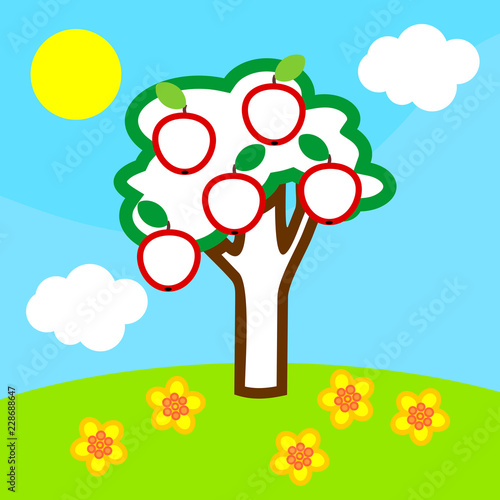 Coloring page. Cartoon summer landscape with apple tree with fruits, blue sky, white clouds and yellow sun