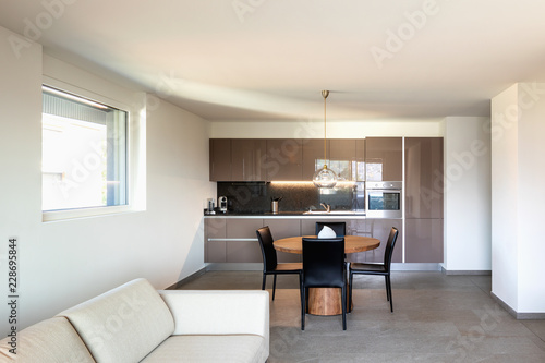 Modern apartament, living room and kitchen in open space - 228695844