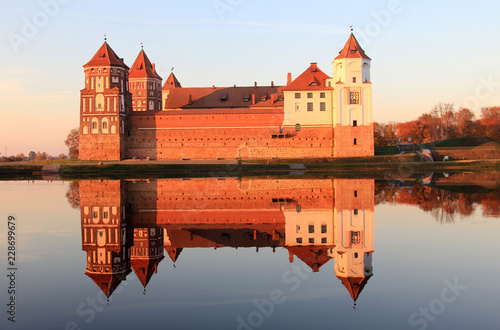 Poster Ancient architecture of Belarus in autumn time