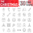 Christmas thin line icon set, new year symbols collection, vector sketches, logo illustrations, xmas signs linear pictograms package isolated on white background.