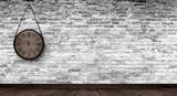 Fototapeta Do przedpokoju - Antique clock on the old, brick wall, wooden floor, smoke, fog. Dark gloomy background of empty room. © MiaStendal