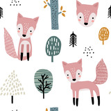 Semless woodland pattern with cute foxes and hand drawn elements. Scandinaviann style childish texture for fabric, textile, apparel, nursery decoration. Vector illustration - 228716631