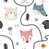 Semless woodland pattern with cute animal faces and hand drawn elements. Scandinaviann style childish texture for fabric, textile, apparel, nursery decoration. Vector illustration - 228716637