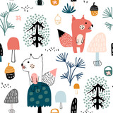 Seamless childish pattern with cute squirrels in the wood. Creative kids city texture for fabric, wrapping, textile, wallpaper, apparel. Vector illustration - 228716662