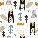 Semless woodland pattern with badgers n and hand drawn elements. Scandinaviann style childish texture for fabric, textile, apparel, nursery decoration. Vector illustration - 228716673