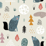 Semless woodland pattern with wolf, moon and hand drawn elements. Scandinaviann style childish texture for fabric, textile, apparel, nursery decoration. Vector illustration - 228716685
