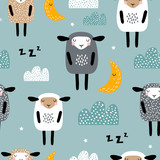 Seamless pattern with cute sleeping sheep, moon, clouds. Creative good night background. Perfect for kids apparel,fabric, textile, nursery decoration,wrapping paper.Vector Illustration - 228718215