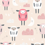 Seamless pattern with cute sleeping sheep, moon, clouds. Creative good night background. Perfect for kids apparel,fabric, textile, nursery decoration,wrapping paper.Vector Illustration - 228718220