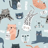 Seamless pattern with different funny cats. Creative childish texture. Great for fabric, textile Vector Illustration - 228718243