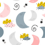 Seamless childish pattern with moons, clouds, stars. Creative kids texture for fabric, wrapping, textile, wallpaper, apparel. Vector illustration - 228718263