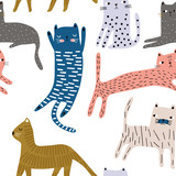 Seamless pattern with cute colorful cats. Creative childish texture. Great for fabric, textile Vector Illustration - 228718264
