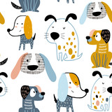 Childish seamless pattern with funny creative dogs. Trendy scandinavian vector background. Perfect for kids apparel,fabric, textile, nursery decoration,wrapping paper - 228718275