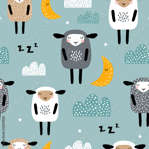 Seamless pattern with cute sleeping sheep, moon, clouds. Creative good night background. Perfect for kids apparel,fabric, textile, nursery decoration,wrapping paper.Vector Illustration © solodkayamari