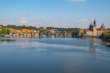Pedestrians only Charles Bridge over Vltava river in Prague, Czech Republic