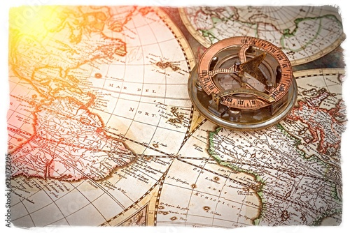old map and compass , navigation and geography  © Studio13lights