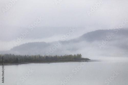 Leinwandbild Motiv Foggy landscape fog on lake in the morning - Cold autumn winter grey day in Alaska.