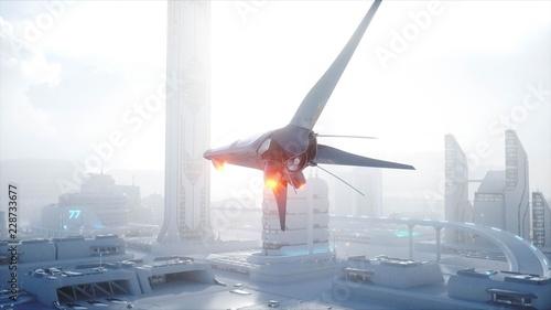 Fridge magnet Sci fi ship over futuristic fog city. Aerial view. Concept of future. 3d rendering.