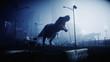 Leinwanddruck Bild - terrible dinosaur trex in the night destroyed city. Apocalypse concept. 3d rendering.