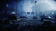 Apocalypse city in fog. Aerial View of the destroyed city. Apocalypse concept. 3d rendering. - 228736289