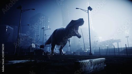 Leinwanddruck Bild terrible dinosaur trex in the night destroyed city. Apocalypse concept. 3d rendering.