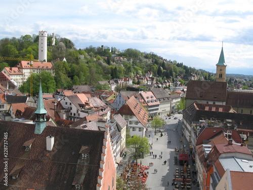 Leinwanddruck Bild Blick auf Burgberg, Mehlsack und Stadtkirche in Ravensburg