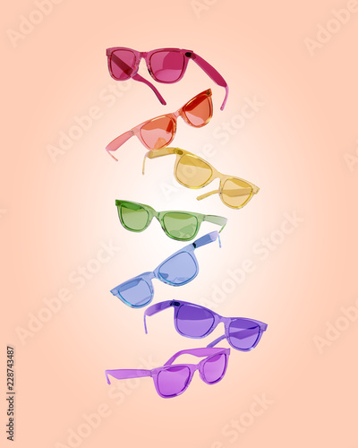 482e14aba3441 Creative concept of a group of multi-colored glasses. 3D illustration