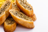 fragrant garlic bread on a white acrylic background - 228752630