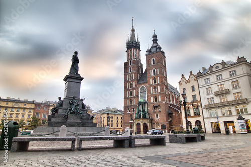 Cloth Hall and St Mary s Church at Main Market Square in Cracow Poland © sanzios