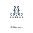Golden gate concept line icon. Linear Golden gate concept outline symbol design. This simple element illustration can be used for web and mobile UI/UX.