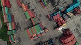 Drone shot of storage and shipping contaners, top down - 228780020
