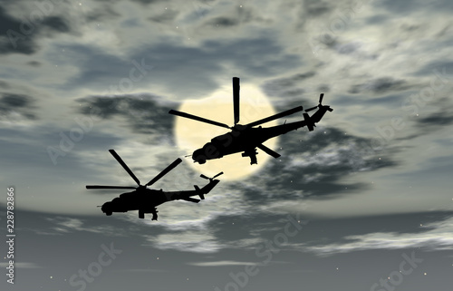 Two military helicopters flying combat against the sky, Russia - 228782866