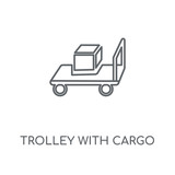 trolley with cargo icon